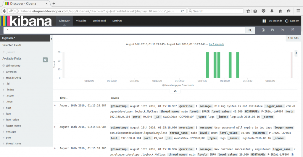 Monitoring Java applications with ELK - Kibana 1